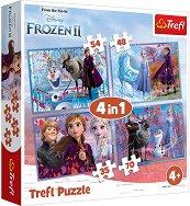 """Път в неизвестното - 4 пъзела в кутия от серията """"Замръзналото кралство"""" - кукла"""