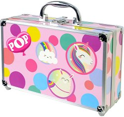 Детски козметичен комплект с гримове в метален куфар - POP Girl Color Train Case - продукт