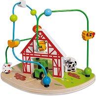 Лабиринт - Ферма - Дървена играчка за координация -