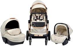 Бебешка количка 3 в 1 - Polly - С 4 колела -