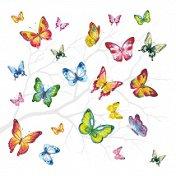 Салфетки за декупаж - Цветни пеперуди - Пакет от 20 броя