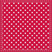 Салфетки за декупаж - Червен фон на бели точки - Пакет от 20 броя
