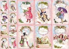 Декупажна хартия - Коледни пожелания 267 - Размери 42.5 x 30.4 cm