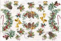 Декупажна хартия - Коледна украса 319 - Размери 42.5 x 30.4 cm