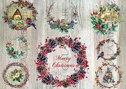 Декупажна хартия - Коледен венец 315 - Размери 48 x 33 cm
