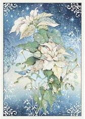Декупажна хартия - Бяла коледна звезда