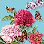 Салфетки за декупаж - Цветя и пеперуди на син фон - Пакет от 20 броя