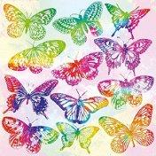 Салфетки за декупаж - Акварелни пеперуди - Пакет от 20 броя