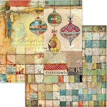 Хартия за скрапбукинг - Коледни мотиви - Размери 30.5 x 30.5 cm