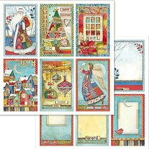 Хартия за скрапбукинг - Коледни катрички - Размери 30.5 x 30.5 cm
