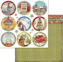 Хартия за скрапбукинг - Коледни илюстрации - Размери 30.5 x 30.5 cm