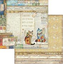 Хартия за скрапбукинг - Котки и коледни мотиви - Размери 30.5 x 30.5 cm