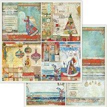 Хартия за скрапбукинг - Коледни картички - Размери 30.5 x 30.5 cm