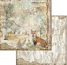 Хартия за скрапбукинг - Лисица и горски мотиви