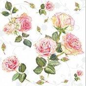 Салфетки за декупаж - Рози на бял фон - Пакет от 20 броя