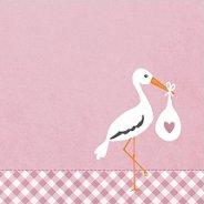 Салфетки за декупаж - Щъркел на розов фон - Пакет от 20 броя