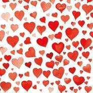 Салфетки за декупаж - Червени сърца - Пакет от 20 броя