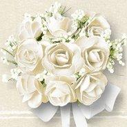 Салфетки за декупаж - Бели рози - Пакет от 20 броя