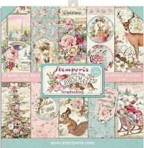 Хартии за скрапбукинг - Коледни мотиви - Комплект от 10 листа с размери 30.5 x 30.5 cm