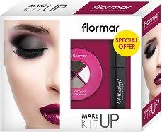 Подаръчен комплект с гримове - Flormar Make up Kit - Спирала и палитра с 4 цвята сенки за очи - крем