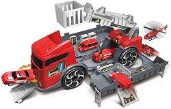 Пожарен камион и пожарна станция - 2 в 1 - играчка