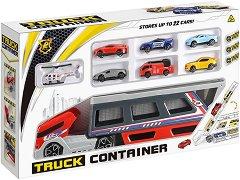 Автовоз с 6 колички и хеликоптер - Детски комплект за игра -