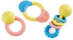 Дъвкалки от оризова пластмаса - Комплект от 2 броя с дрънкалка за бебета над 0+ месеца -