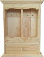 Дървена кутия за ключове с чекмедже