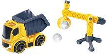 Самосвал и кран - Детски комплект със светлинни и звукови ефекти -