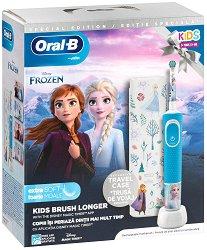Oral-B Braun Vitality Kids D100 Disney Frozen 2 + Travel Case Gift Set - Детска електрическа четка за зъби и кутия за пътуване - душ гел