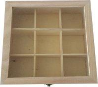 Дървена кутия за чай с 9 разделения
