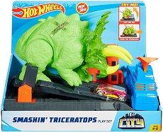 """Писта - Трицератопс - Комплект с метална количка от серията """"Hot Wheels"""" - играчка"""