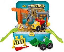 Куфар - Строителна площадка - Детски комплект за игра със самосвал, багер и аксесоари -