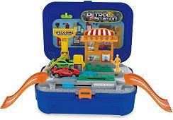 Куфар - Бензиностанция - Детски комплект за игра с 2 колички и аксесоари -