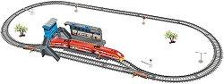 Влак стрела с релси - Детски комплект за игра със светлинни ефекти, гара и надлез -