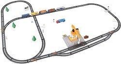 Влакова композиция с кран - Детски комплект за игра с локомотив и 3 вагона -