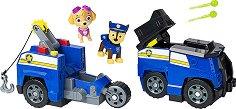 """Полицейският камион-мотор на Чейс - 2 в 1 - Детски комплект за игра с фигурка на Чейс и Скай : От серията """"Пес патрул"""" - играчка"""
