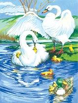 Рисуване по номера с акрилни бои - Лебеди