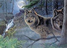 Рисуване по номера с акрилни бои - Вълци - Комплект за картина с размери 39 x 30 cm