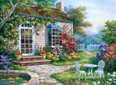 Рисуване по номера с акрилни бои - Цветна градина - Комплект за картина с размери 39 x 30 cm