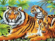 Рисуване по номера с акрилни бои - Тигри - Комплект за картина с размери 39 x 30 cm