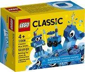 Детски конструктор със сини части в кутия - играчка