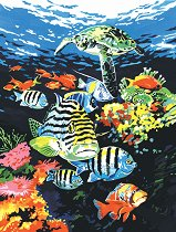 Рисуване по номера с акрилни бои - Океански дълбини - Комплект за картина с размери 23 x 30 cm