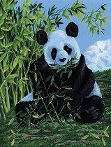 Рисуване по номера с акрилни бои - Панда - Комплект за картина с размери 23 x 30 cm
