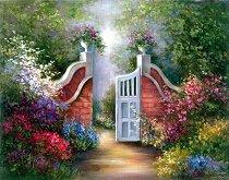 Рисуване по номера с акрилни бои - Градина