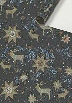 Едностранен опаковъчен лист - Звезди и Еленчета - Хартия с размери 70 x 200 cm