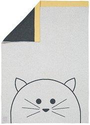 Бебешко памучно одеяло - Little Chums Cat - 100% памук с размери 75 x 100 cm -
