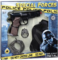 "Пистолет, кобур, значка и белезници - Полицейски комплект за игра от серията ""Police"" -"