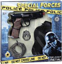 "Пистолет, кобур, значка и белезници - Полицейски комплект за игра от серията ""Police"" - играчка"
