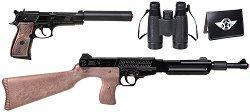 Тайни служби - Комплект пушка и пистолет за капси, бинокъл и паспорт - играчка